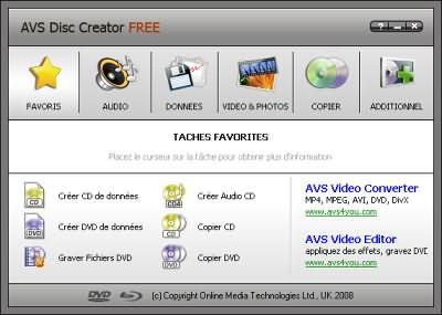 capture écran AVS Disc Creator