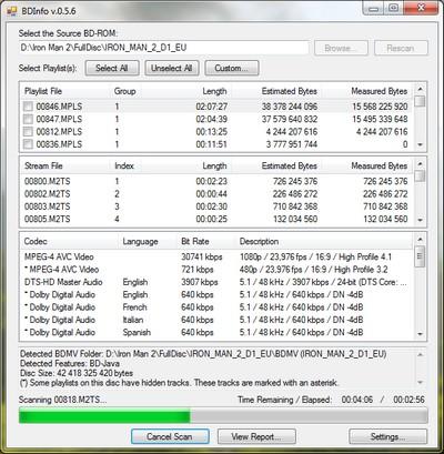 capture écran BDInfo