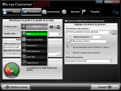 capture écran Blu-ray to DVD / AVI / PS3 / MKV Converter Ultimate