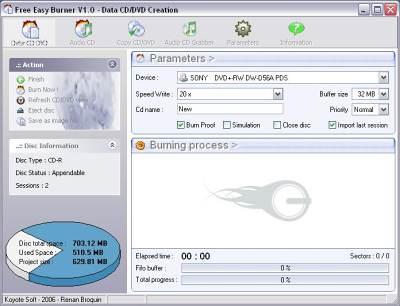 capture écran Free Easy CD DVD Burner