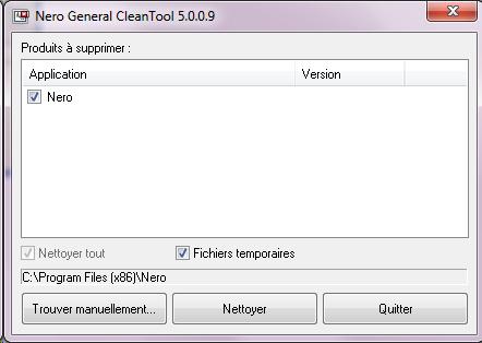 capture écran Nero General CleanTool